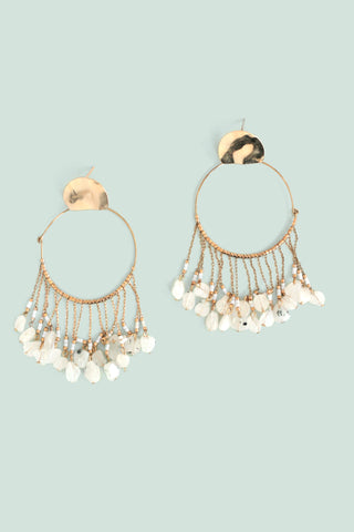 Chandelier Hoop Earrings - White