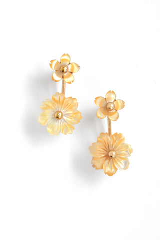 Shell Mini Flower Front Back Earrings - Yellow