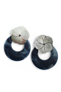 Shell Flower and Resin Earrings - Blue
