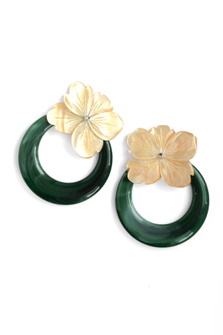 Shell Flower and Resin Earrings - Green