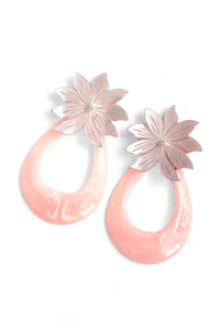 Shell Flower and Resin Earrings - Pink