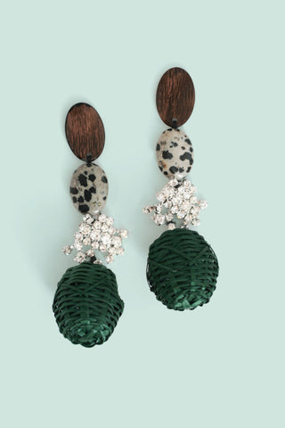 Wicker Basket Weave Earrings - Green