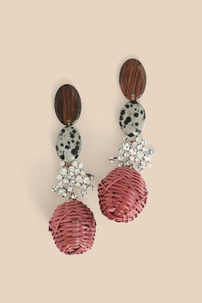 Wicker Basket Weave Earrings - Red