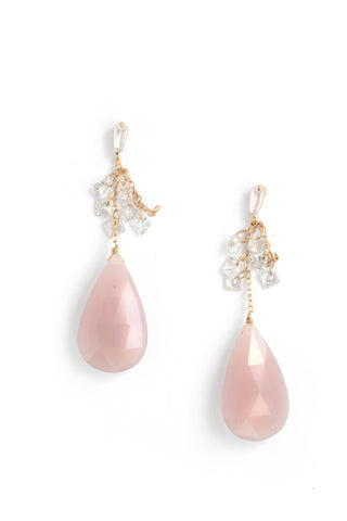 CZ and Glass Statement Dangle Earrings - Rose