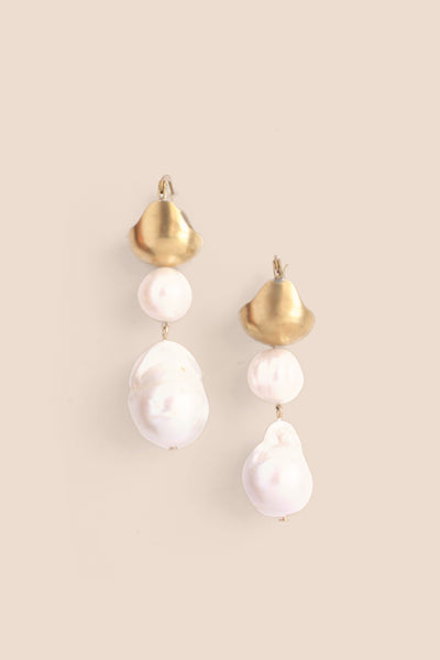 Baroque Pearl Drop Earrings - Pearl