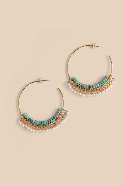 Seed Bead Hoop Earrings - Turquoise