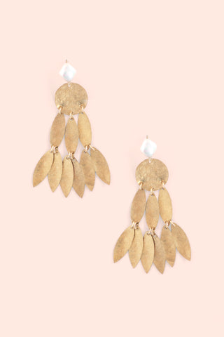 Metal Chandelier Earrings - Pearl