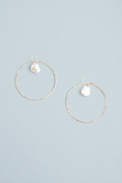 Hoop Drop Earrings - Pearl