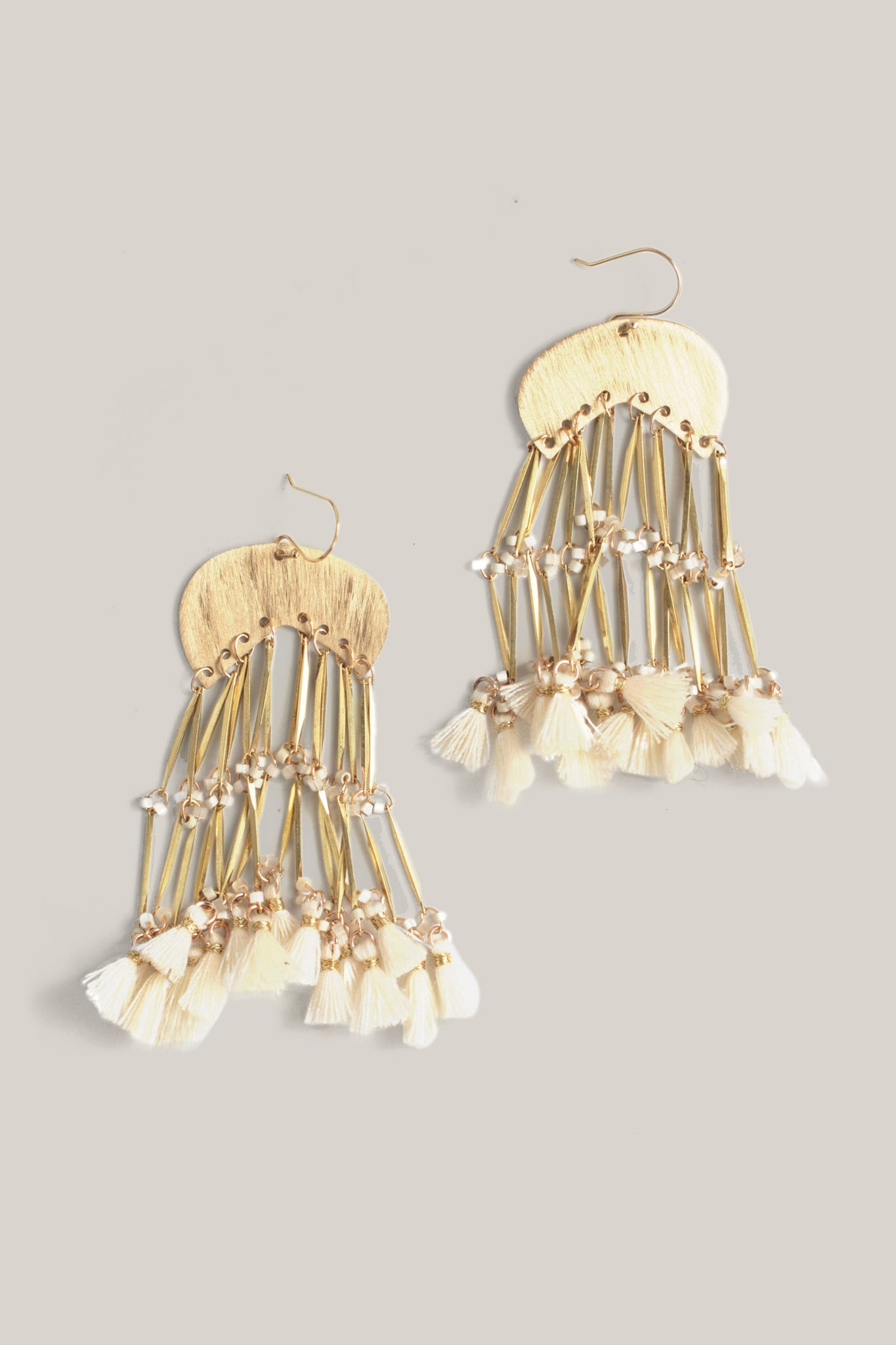 Glittering Tassel Earrings - White