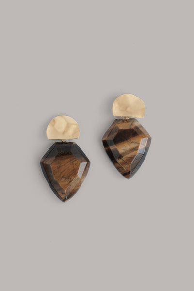 Mini Shield Quartz Earrings - Brown