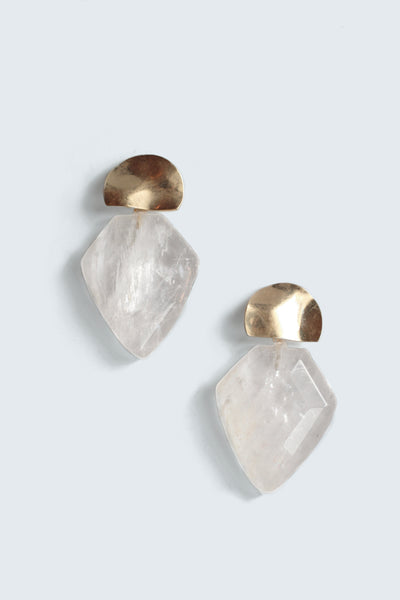 Clear Quartz Mini Shield Earrings - Clear