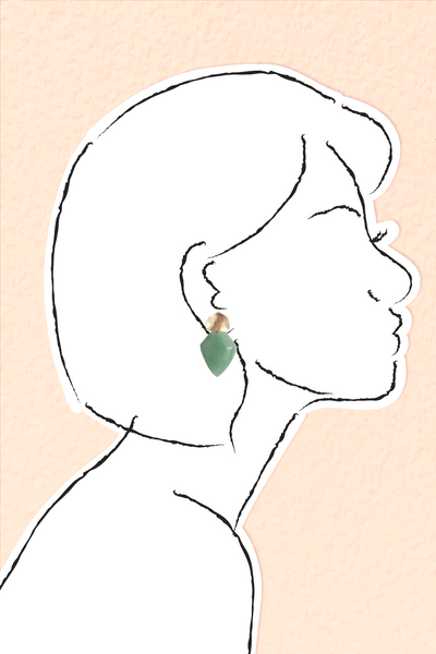 Mini Shield Quartz Earrings - Jade