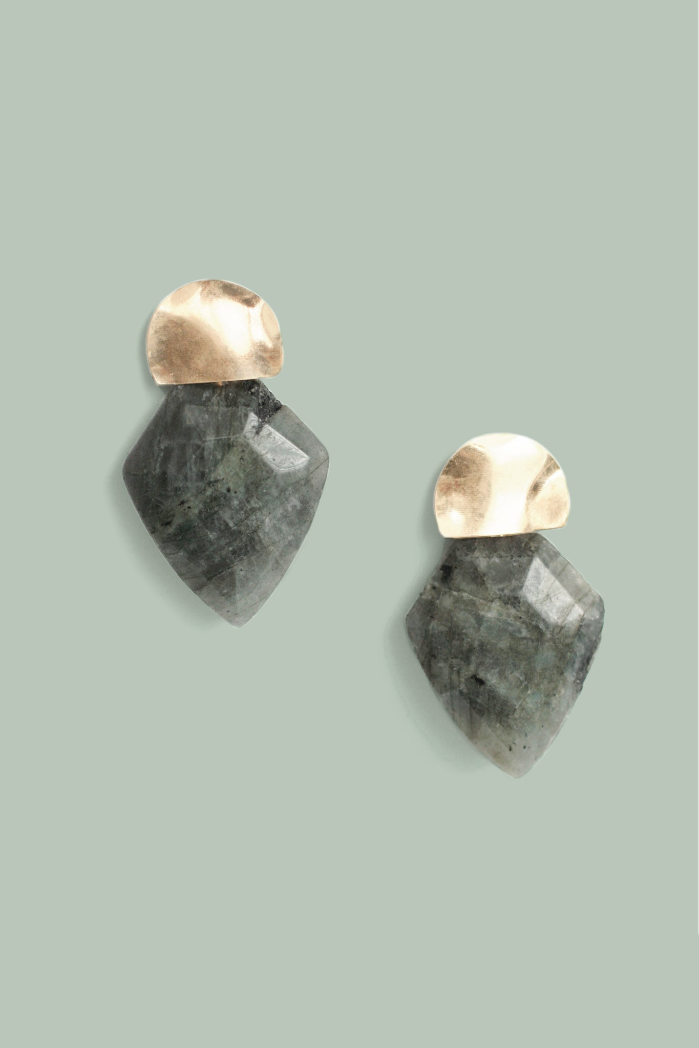 Mini Shield Quartz Earrings - Labradorite