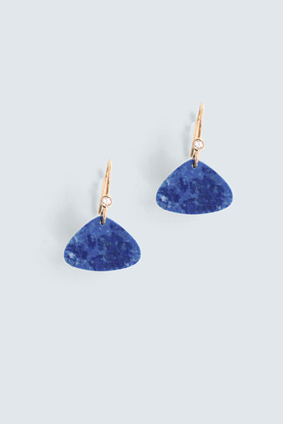 Triangular drop earring - Lapis