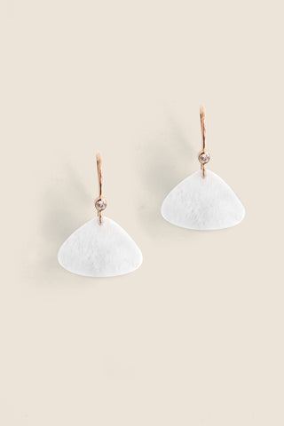 Triangular Drop Earring - White