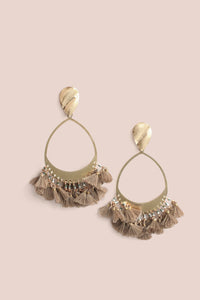 Tassel Drop Earrings - Neutral