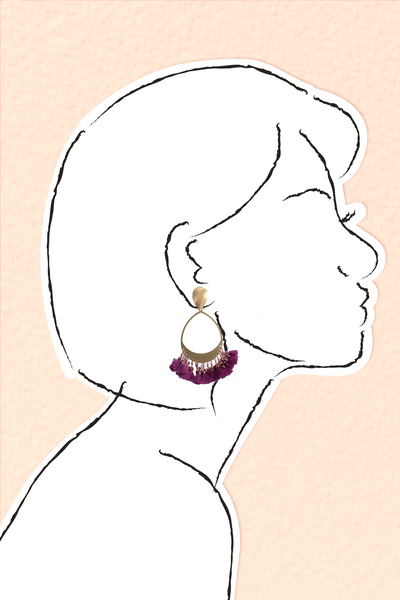 Tassel Drop Earrings - Raspberry