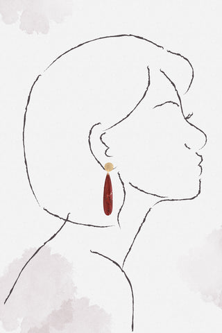 Large Stone Drop Earrings - Red