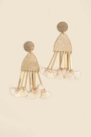 Dangling Tassel Statement Earrings - Cream