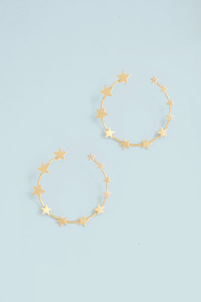 Star Hoop Earrings - Gold