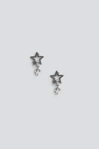Tiny Star Drop Earrings - Gunmetal