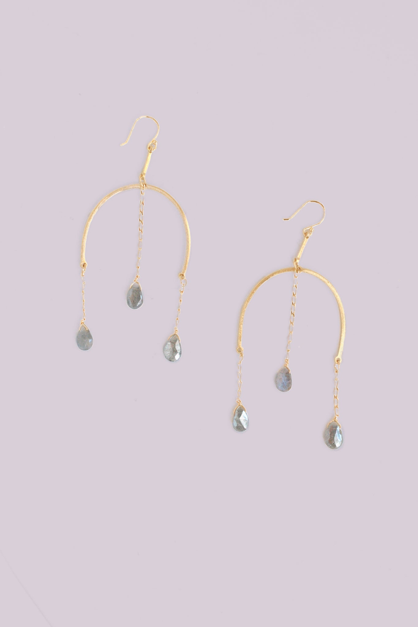 Triple dangle statement earrings - Labradorite