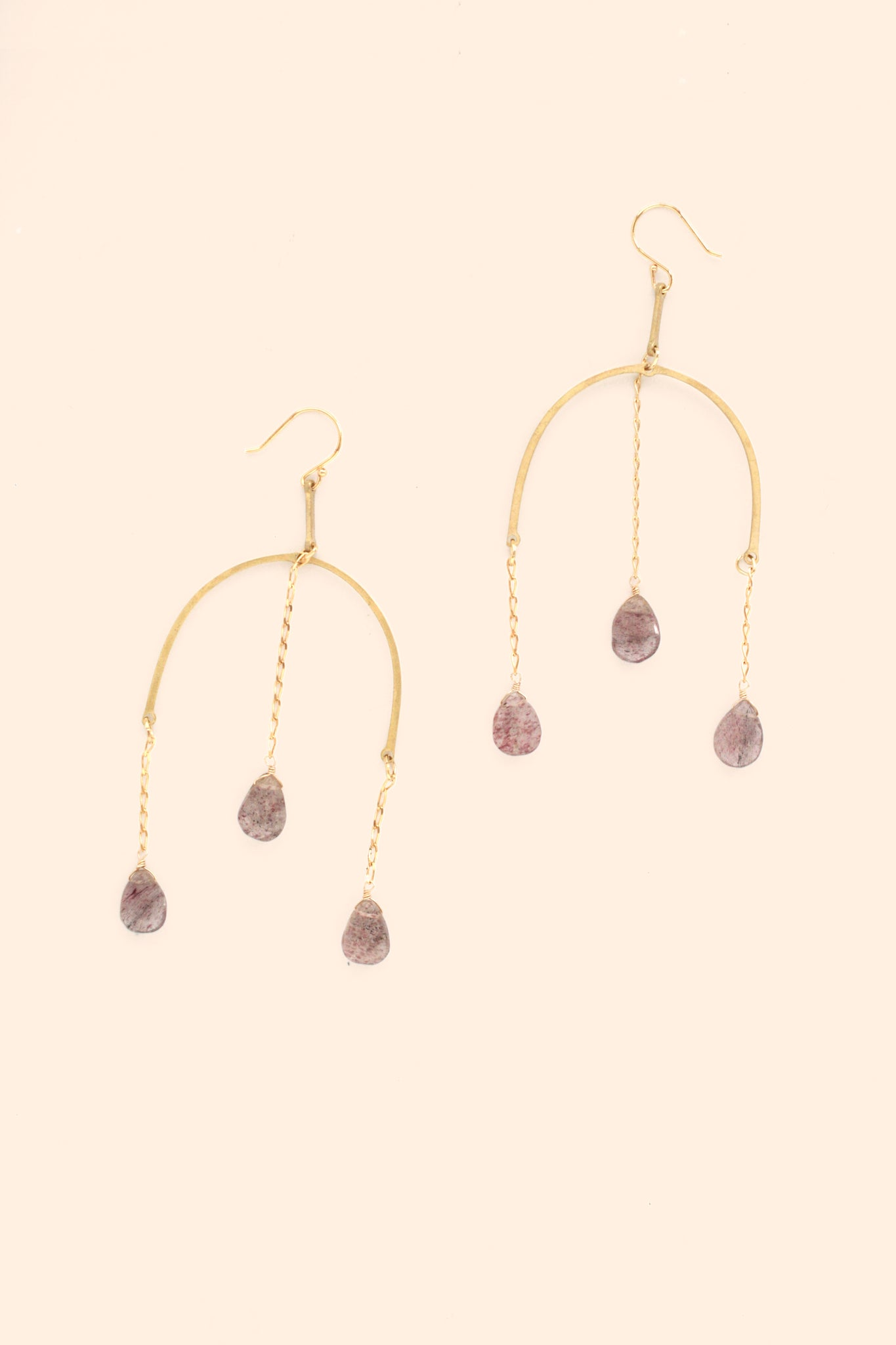 Triple dangle statement earrings - Strawberry Quartz