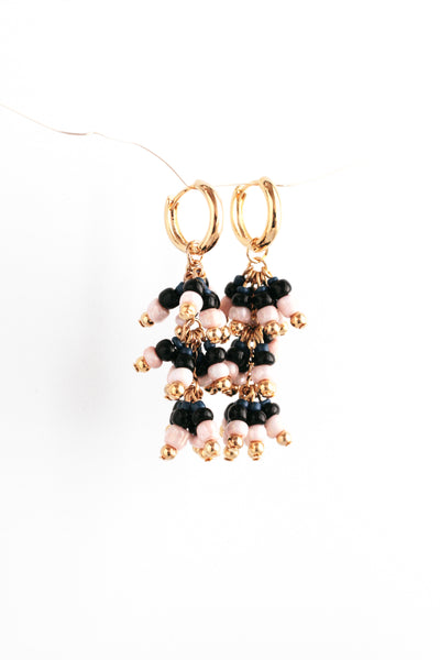 Beaded Drop Earrings - Navy