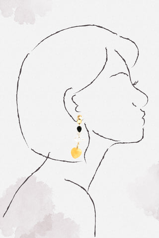 Heart Drop Earrings - Yellow