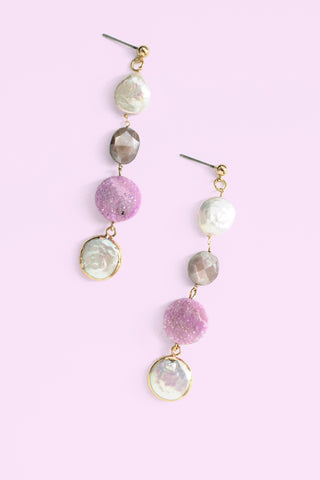 Druzy Coin Pearl Drop Earrings