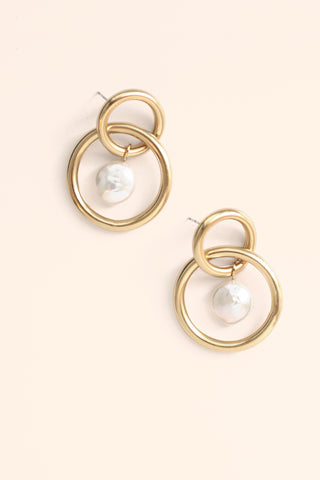Interlocking Hoops Coin Pearl Post Earrings