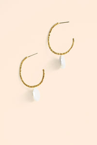 Open Hammered Hoop Coin Pearl Earrings