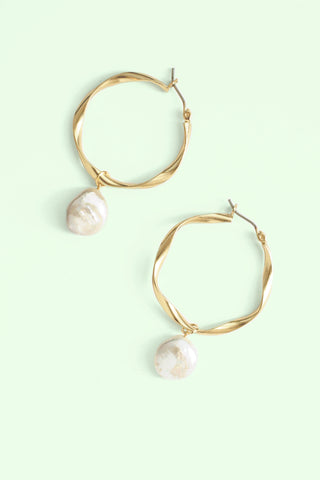 Pearl Hoop Earrings - Pearl