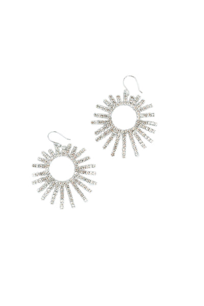 Crystal Sparkly Sunburst Statement Earrings