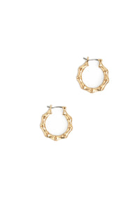 Small Bamboo Huggie Earrings - Gold