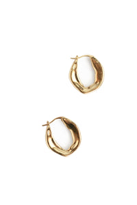 Small Organic Shaped Hoops - Gold