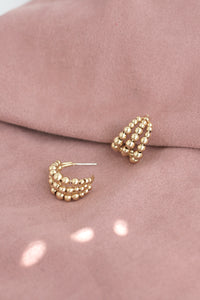 Beaded Gold Huggie Earrings