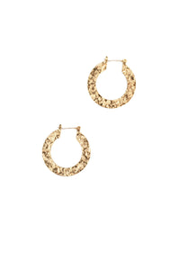 Flat Textured Small Hoop Earrings - Gold