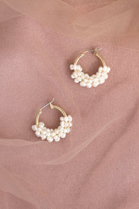 Freshwater Pearl Wire Wrapped Small Hoop Earrings