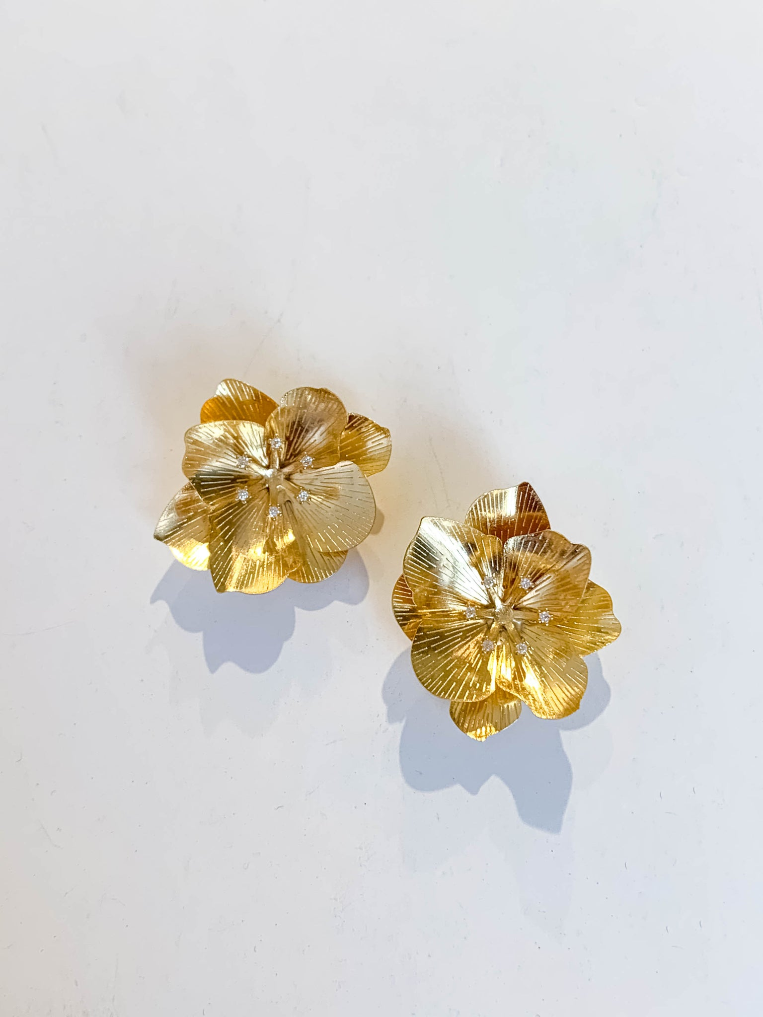 Golden Flower Post Earrings