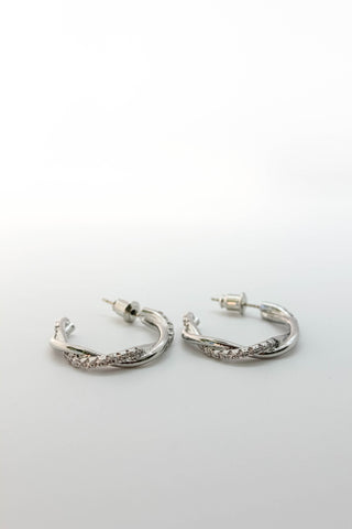 Pave Twist Hoop Earrings