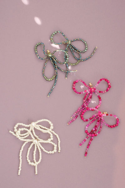 Beaded Bow Drop Earrings
