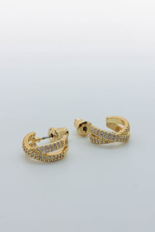 Pave Crossover Huggie Earrings