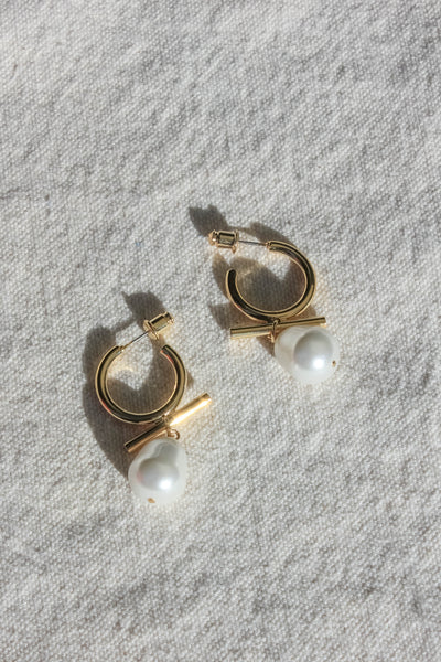 Modern Pearl Huggie Earrings