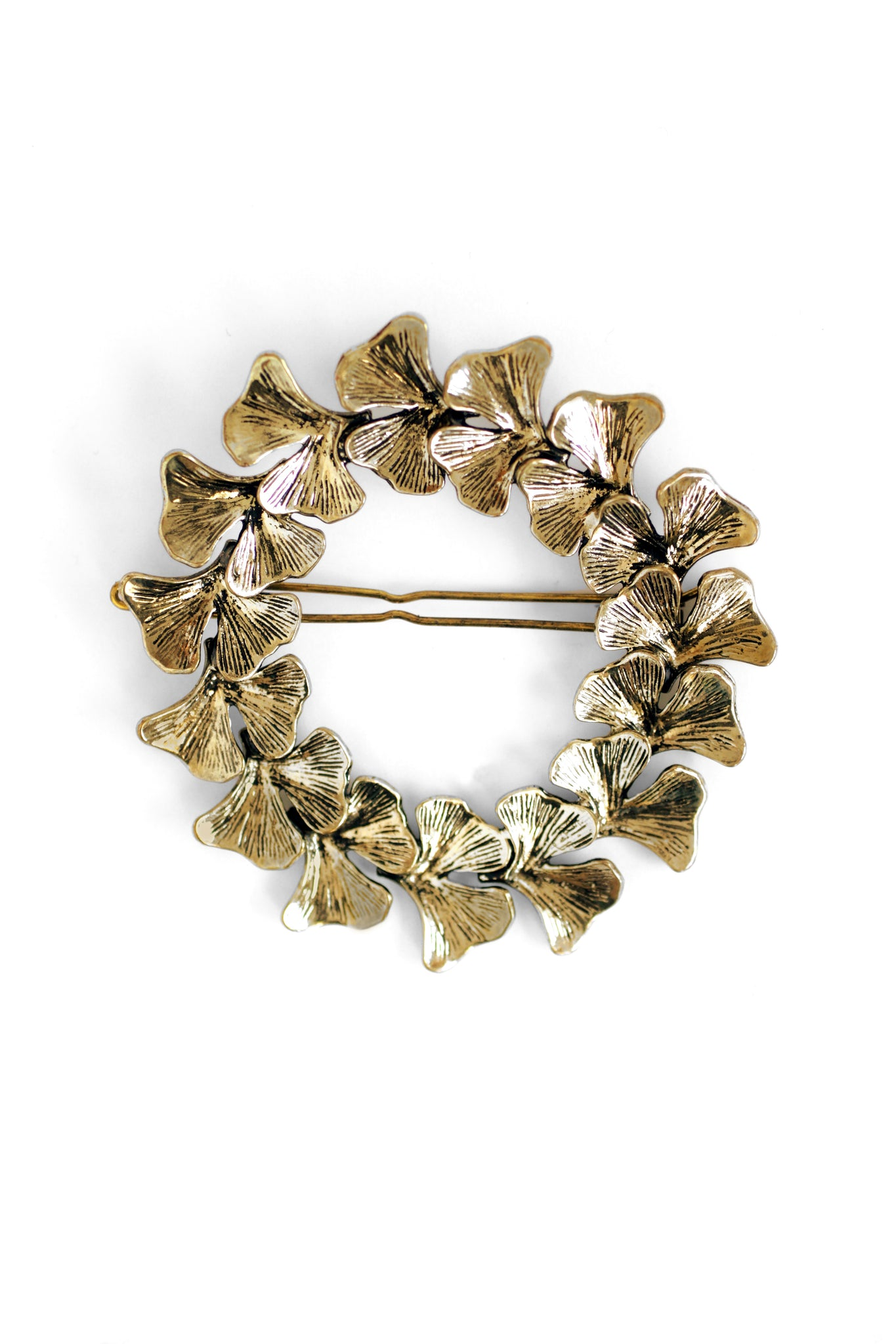 Botan Fern Wreath Statement Clip - Antique Gold