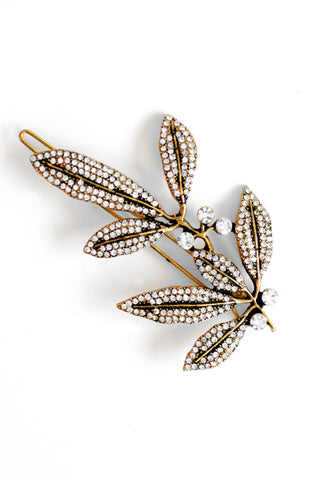 Olive Leaf Pave Hair Pin - Antique Gold