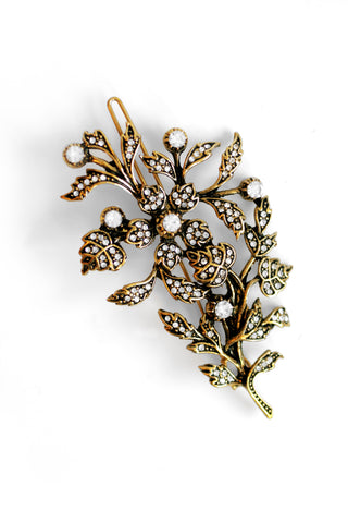 Garden Rose Pave Hair Pin - Antique Gold