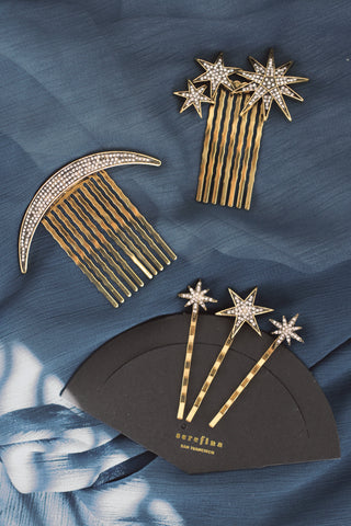 Set of 5 Celestial Hair Pins and Hair Comb - Antique Gold
