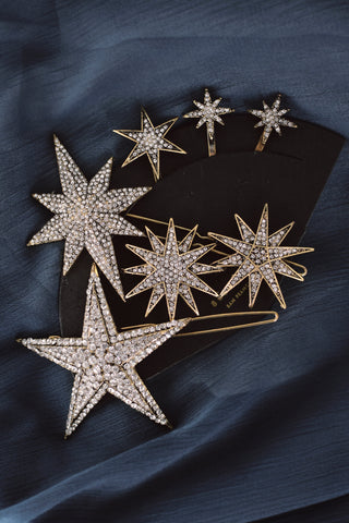 Set of 5 Dramatic Starry Jewels Hair Pins