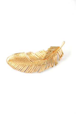 Gilded Feather Hair Clip - Gold